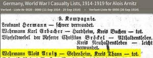 décès Aloys Arnitz 1914 surligné